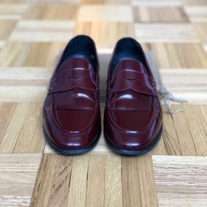 Women's Burberry Burgundy Leather Penny Loafers